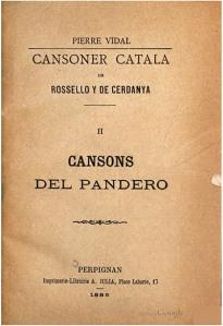 Cansoner catala de Rossello y de Cerdanya: Cansons del pandero.